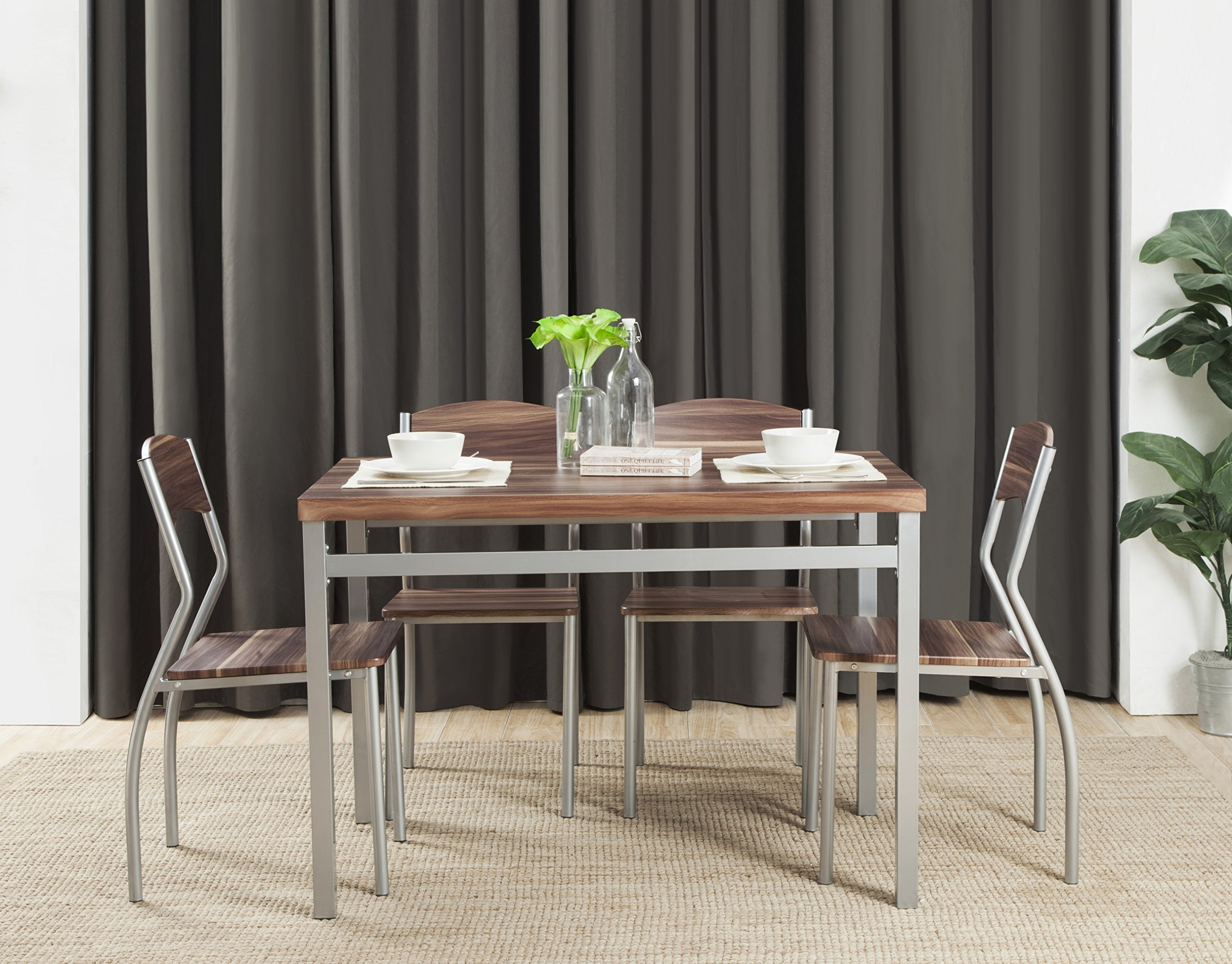 Abington Lane 5-Piece Dining Table Set with 4 Chairs - Modern and Sleek Dinette (Cedarwood Finish) by Abington Lane (Image #3)