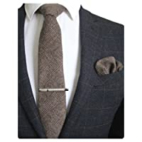 RBOCOTT Solid Color Wool Tie and Pocket Square, Tie Clip Set for Men