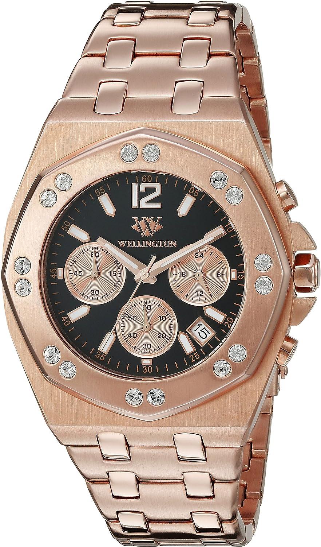Wellington WN511-328 - Reloj analógico de Cuarzo para Hombre con Correa de Acero Inoxidable, Color Rosa