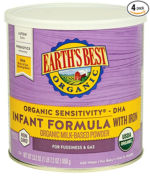 Earth's Best Organic Sensitivity Infant Formula with Iron, 23.2 Ounce (Pack of 4)