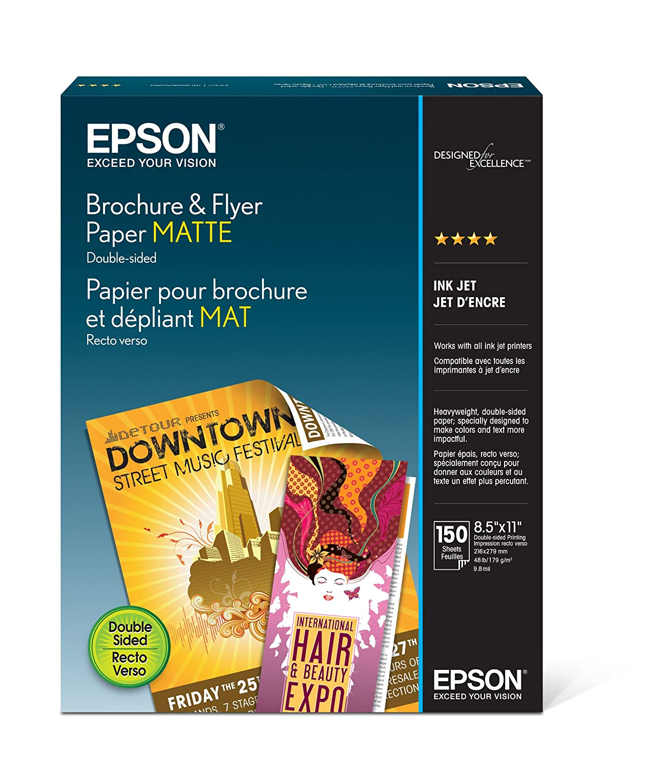Epson S042384 Brochure and Flyer Paper Matte, Double-Sided (White)