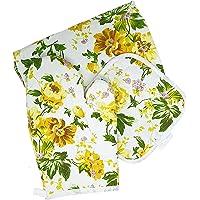 Conjunto De Cozinha Com Avental Luva E Pegador De Panela (Cor:Amarelo-Flores)