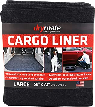 """Drymate Premium Reversible Cargo Liner Mat , Dogs Charcoal//Brown USA Made Absorbent//Waterproof//Durable Cars Seat Cover//Trunk Liner Trucks 58/"""" x 84/"""" Vans Vehicle Protection Mat for SUVs"""