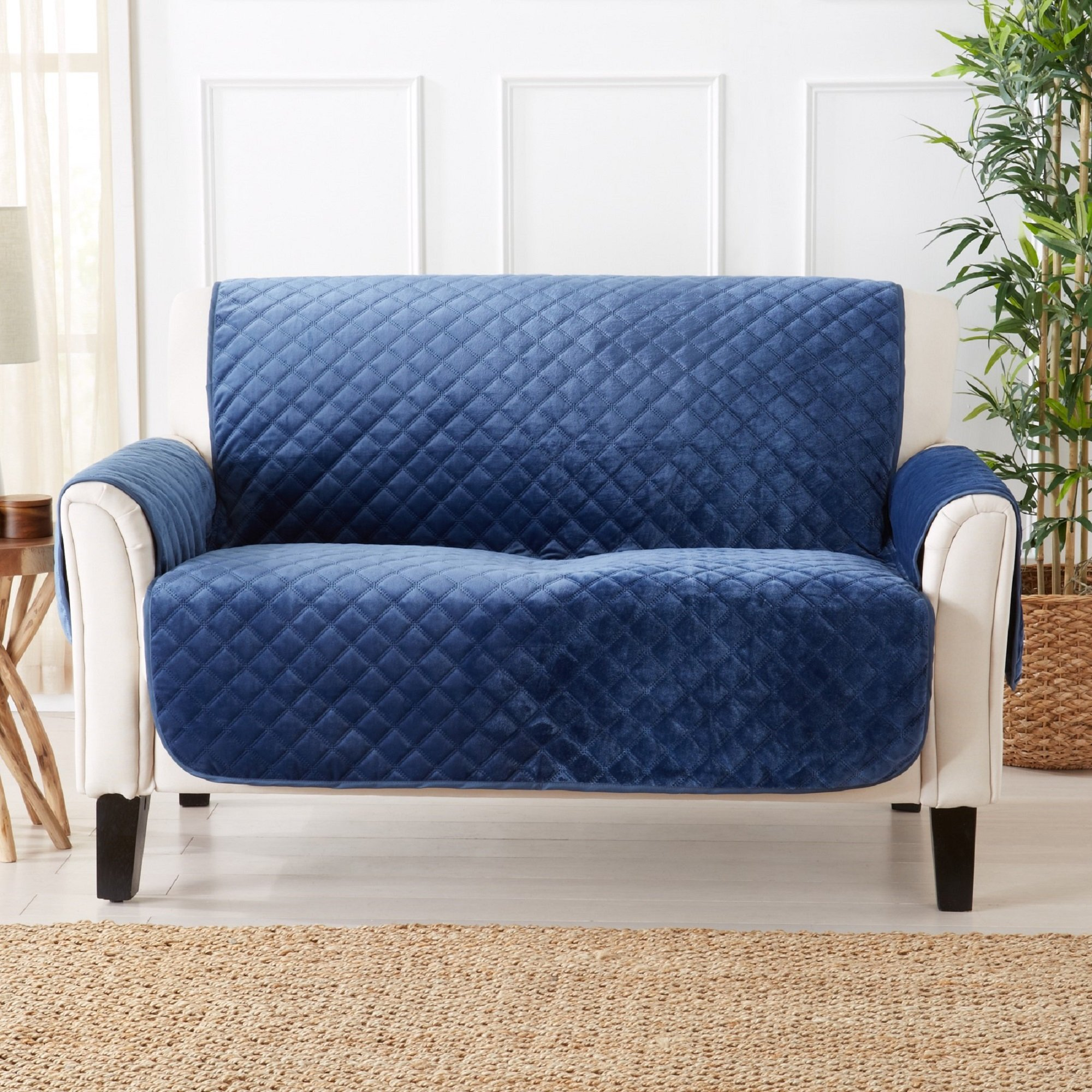 Great Bay Home Modern Velvet Furniture Protector. Stain Resistant, Durable, Machine Washable. Perfect for Pets, Dogs & Kids (Loveseat, Dark Denim Blue) by Great Bay Home