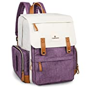 Diaper Bag, Multi-Function Travel Diaper Backpack Baby Maternity Nappy Changing Bag with Insulated Pocket, Durable Stylish and Waterproof, Purple&White by Ramhorn