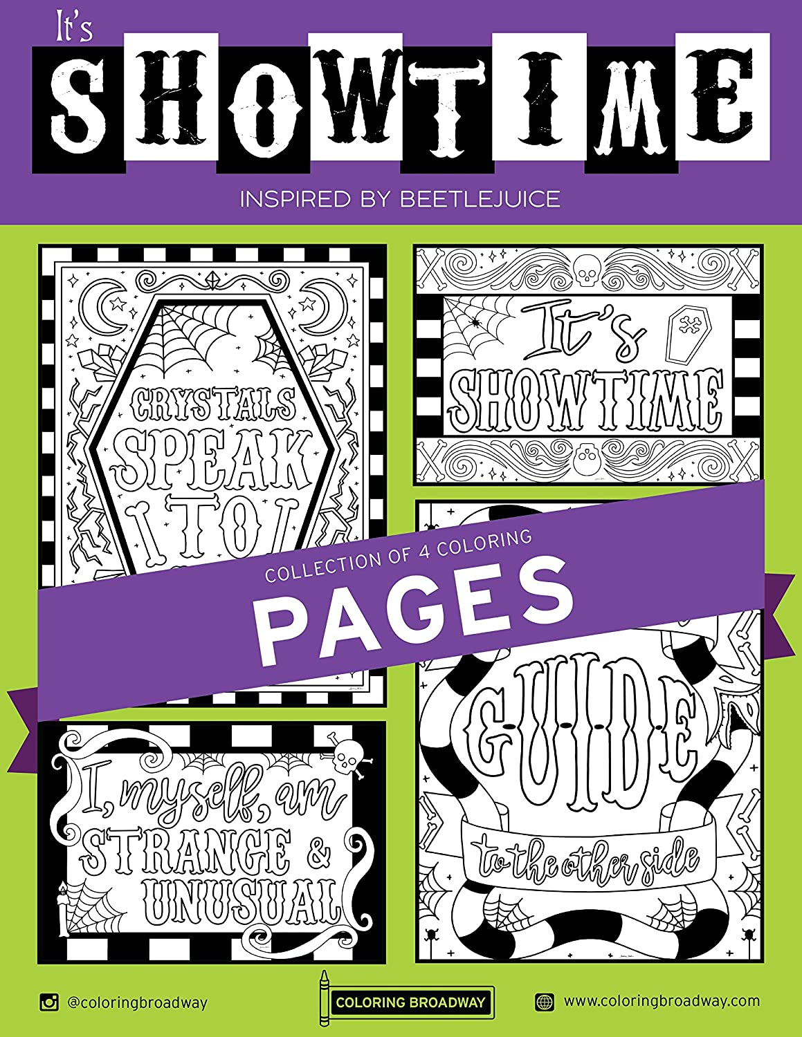 Amazon Com Beetlejuice It S Showtime Collection Coloring Pages By Coloring Broadway Hand Drawn Illustrations Printed On Matte Card Stock 8 5 X 11 Set Of 4 Individual Pages