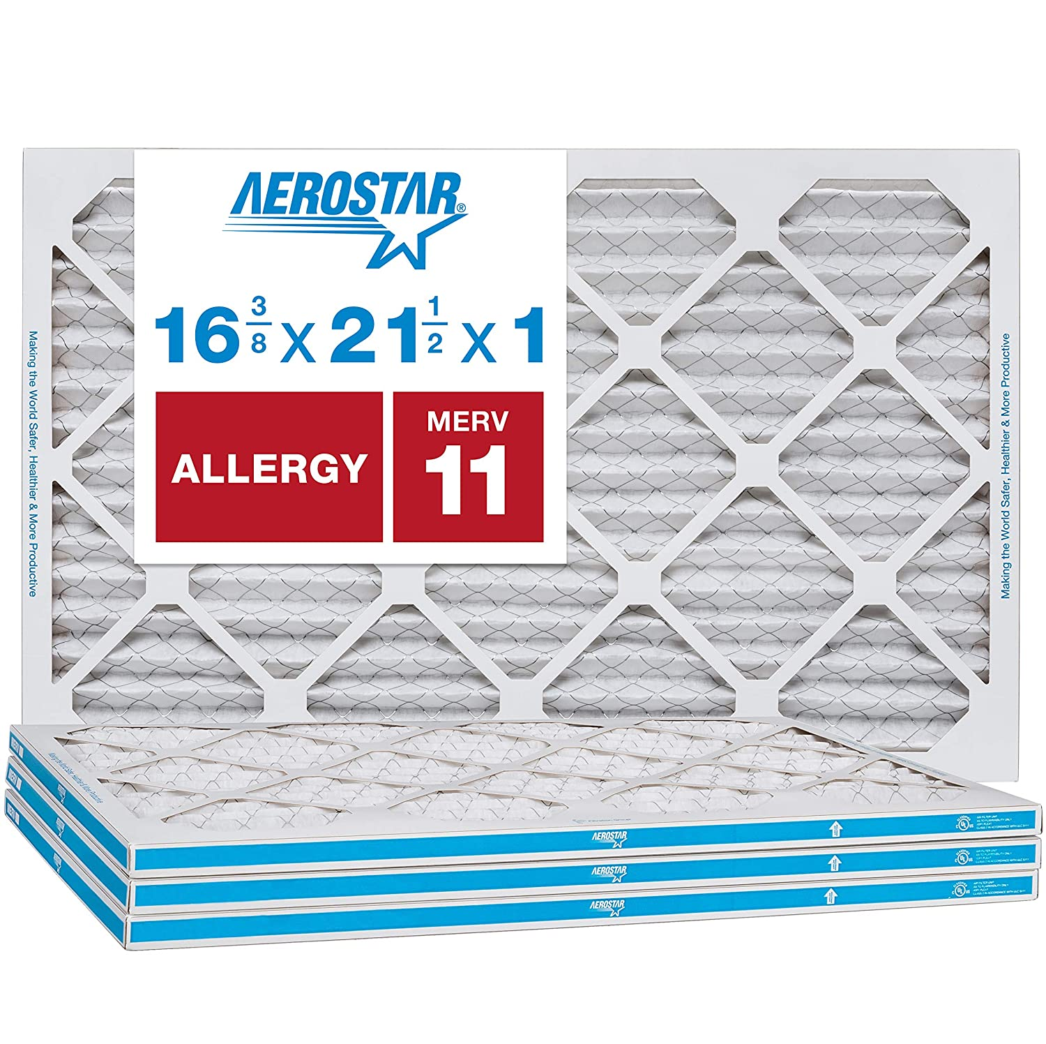 """Aerostar Allergen & Pet Dander 16 3/8x21 1/2x1 MERV 11 Pleated Air Filter, Made in The USA, (Actual Size: 16 3/8""""x21 1/2""""x3/4""""), 4-Pack"""