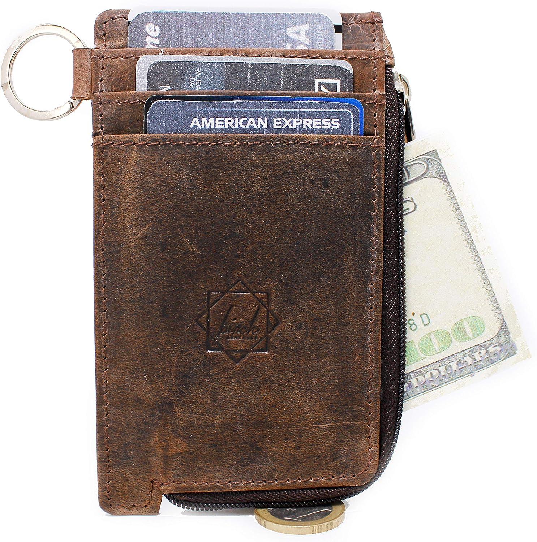 Amazon.com: Billetera de cuero con cremallera para tarjetas ...