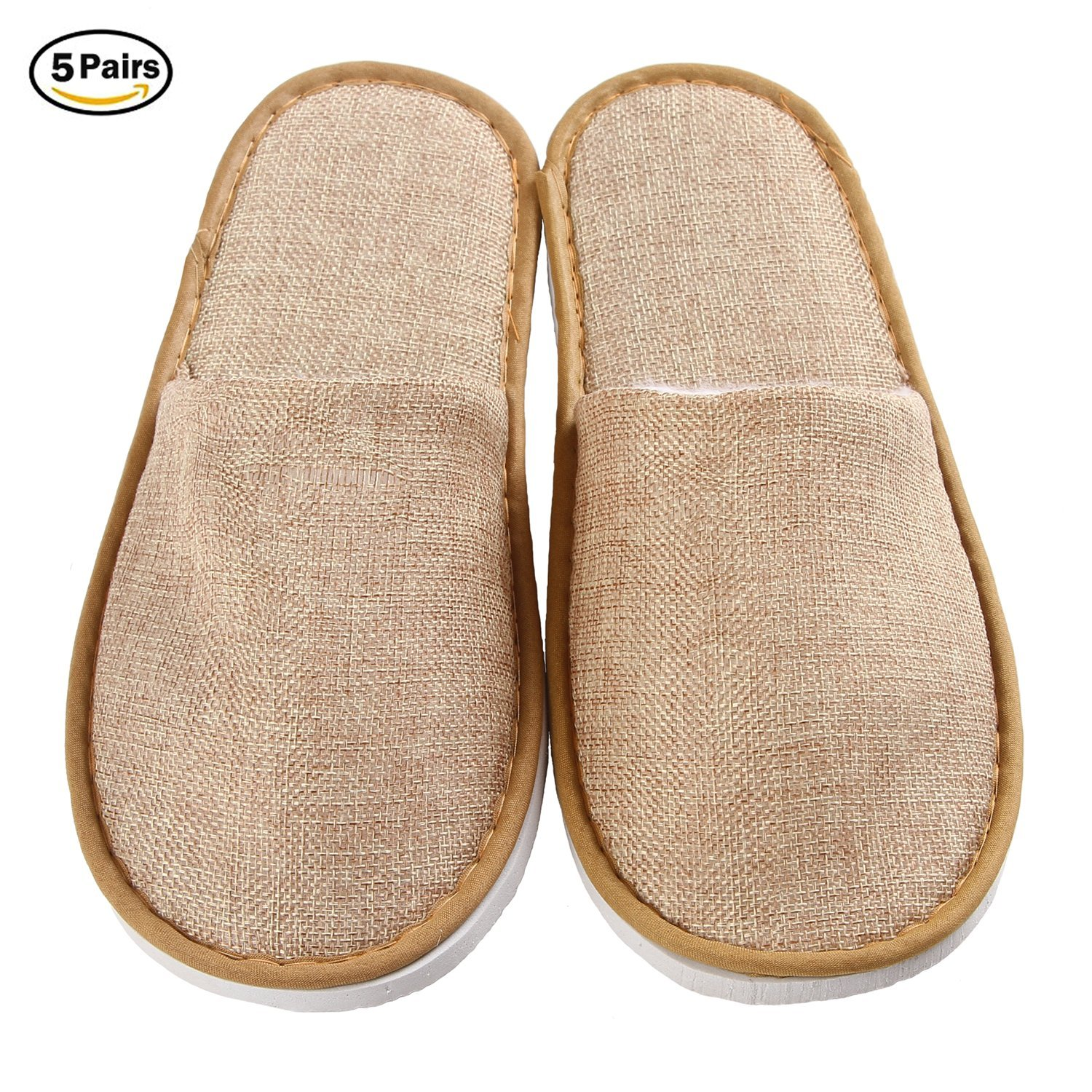 5 Pairs Disposable Slippers for Guests, Closed Toe Spa Slippers for Women and Men