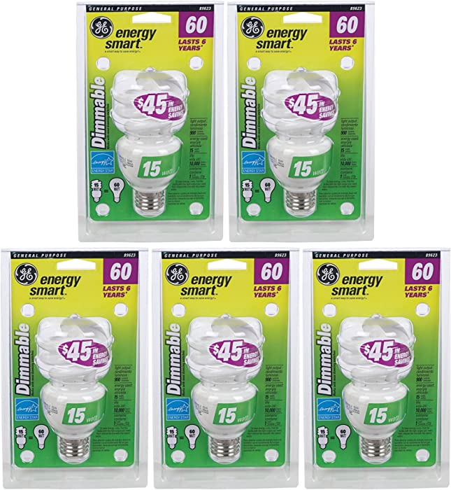 G E Lighting #89623 GE 15W Fluorescent Spiral Bulb (Pack of 5)