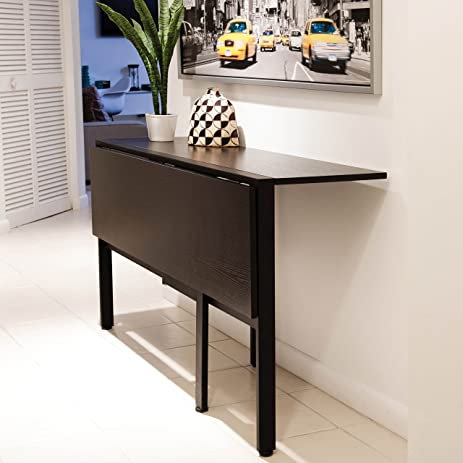 MIX Laminate Wood Metal Frame Espresso Rectangle Folding Dining Table