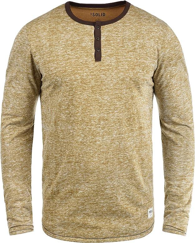 Solid Telias Camiseta Básica De Manga Larga Longsleeve para Hombre con Cuello Grandad, tamaño:M, Color:Cinnamon (5056): Amazon.es: Ropa y accesorios