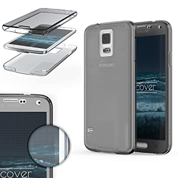 Urcover® Funda Compatible con Samsung Galaxy S5, Carcasa Protectora 360 Grados Silicona Gel en Transparente Full Body Protección Completa ...