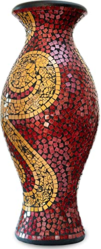 Zorigs, Decorative Tall Floor Vase 24 x 12 Inches Tall Cylinder Vase with Swirls, Made of Terracotta with Red and Gold Glass Mosaic Pieces Exquisite Home D cor Accent Piece