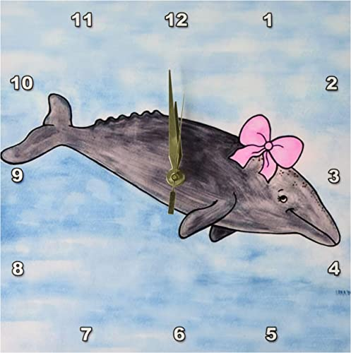 3dRose Gina Grey Whale Wall Clock, 10 by 10-Inch