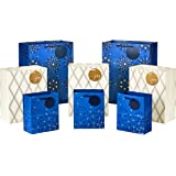 """Hallmark Holiday Gift Bags Assorted Sizes (8 Bags: 3 Small 6"""", 3 Medium 9"""", 2 Large 13"""") Navy Blue and Gold Dots, Diamonds an"""