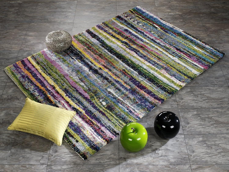 INTERSTELLAR STRIPE Designer Hochflor Langflor Teppich in G multicolor, Größe  140x200 cm