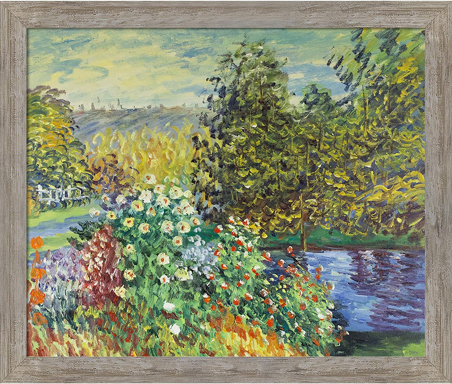 La Pastiche MON929-FR-8388320X24 Corner of The Garden at Montgeron with Metropolitan Pewter Framed Hand Painted Oil Reproduction, 20X24, Multi
