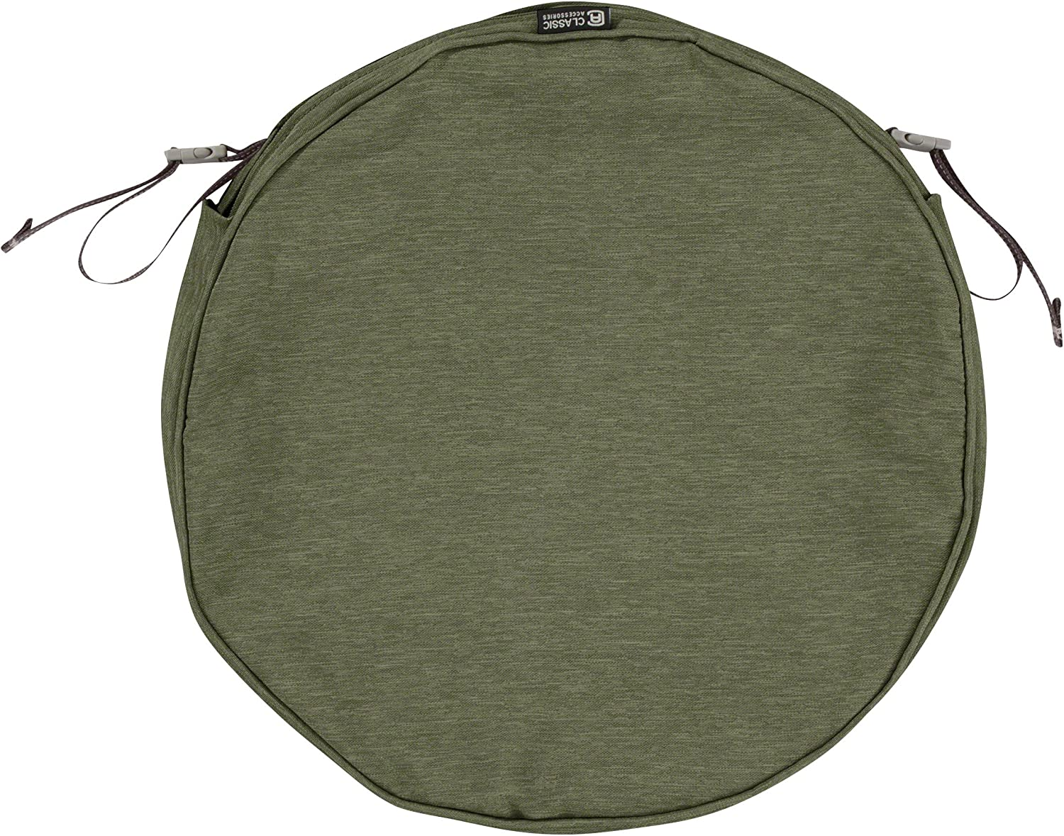 Classic Accessories Montlake Water-Resistant 15 x 2 Inch Round Outdoor Chair Seat Cushion Slip Cover, Patio Furniture Cushion Cover, Heather Fern Green