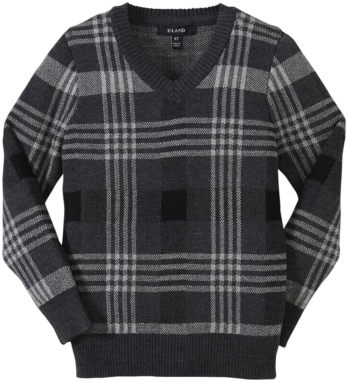 Toddler//Kid Charcoal E-Land Kids Little Boys Plaid Sweater