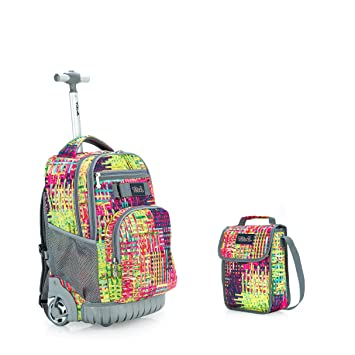 1bbfe7a0d555 Tilami New Antifouling Design 18 Inch Wheeled Rolling Backpack Luggage &  Lunch Bag,Woven pattern 2