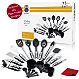 Classic 22 Piece Kitchen Utensils Set - Premium Stainless Steel, Silicone & Nylon Cookware Utensils, Lightweight cooking tools for non-stick cookware & Serving Essential Accessories, Pot Mat & More.