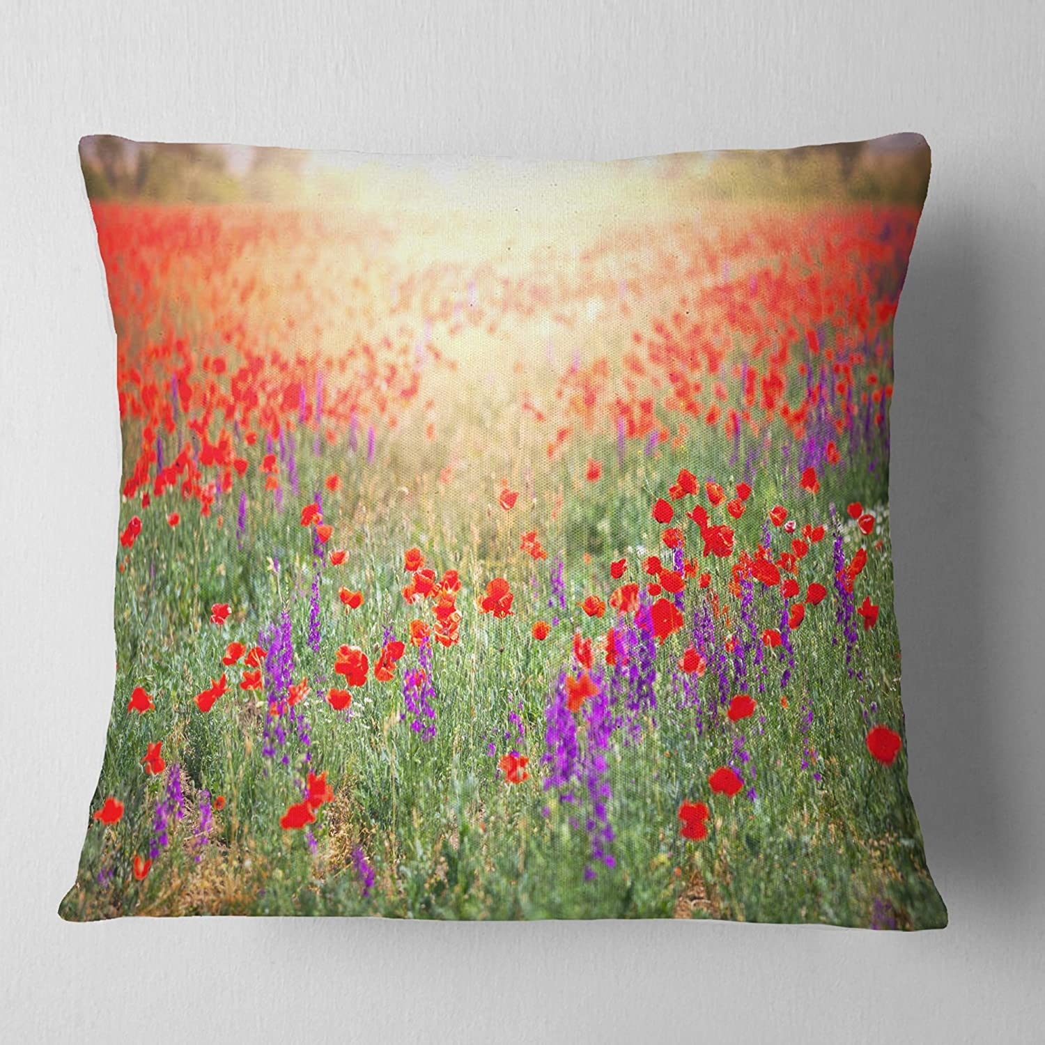 Designart CU12601-18-18 Expansive Poppy Field at Sunset' Floral Cushion Cover for Living Room, Sofa Throw Pillow 18 in. x 18 in. in, Insert Printed On Both Side
