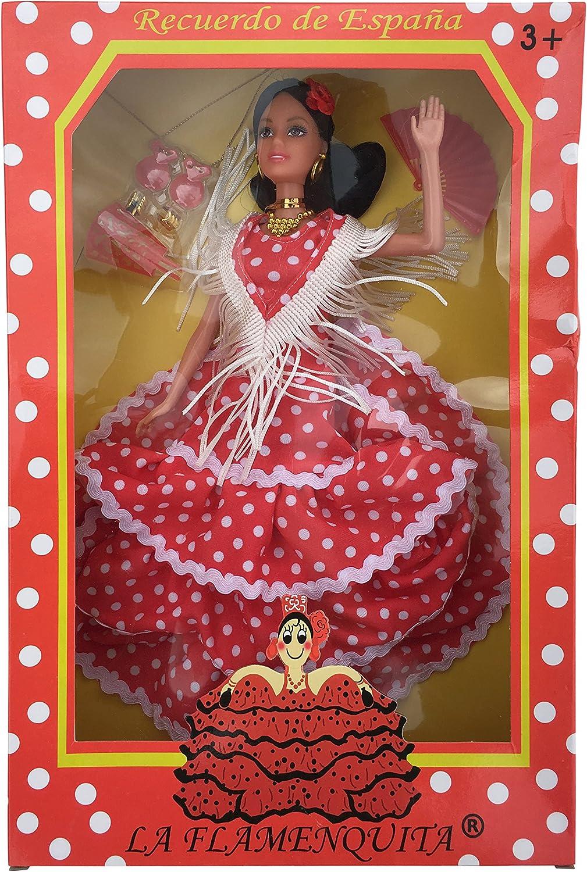 Amazon.es: La Señorita Muñeca Flamenco España Vestido Disfraz Rojo Puntos Blanco: Juguetes y juegos