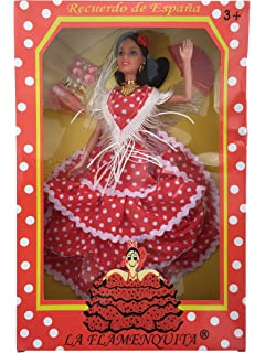 La Señorita Muñeca Flamenco Barbie España Vestido Disfraz rojo puntos blanco