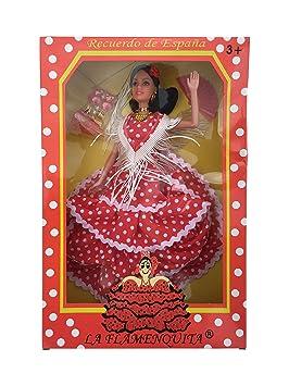 apariencia elegante gran colección gran surtido La Señorita Muñeca Flamenco España Vestido Disfraz Rojo Puntos Blanco