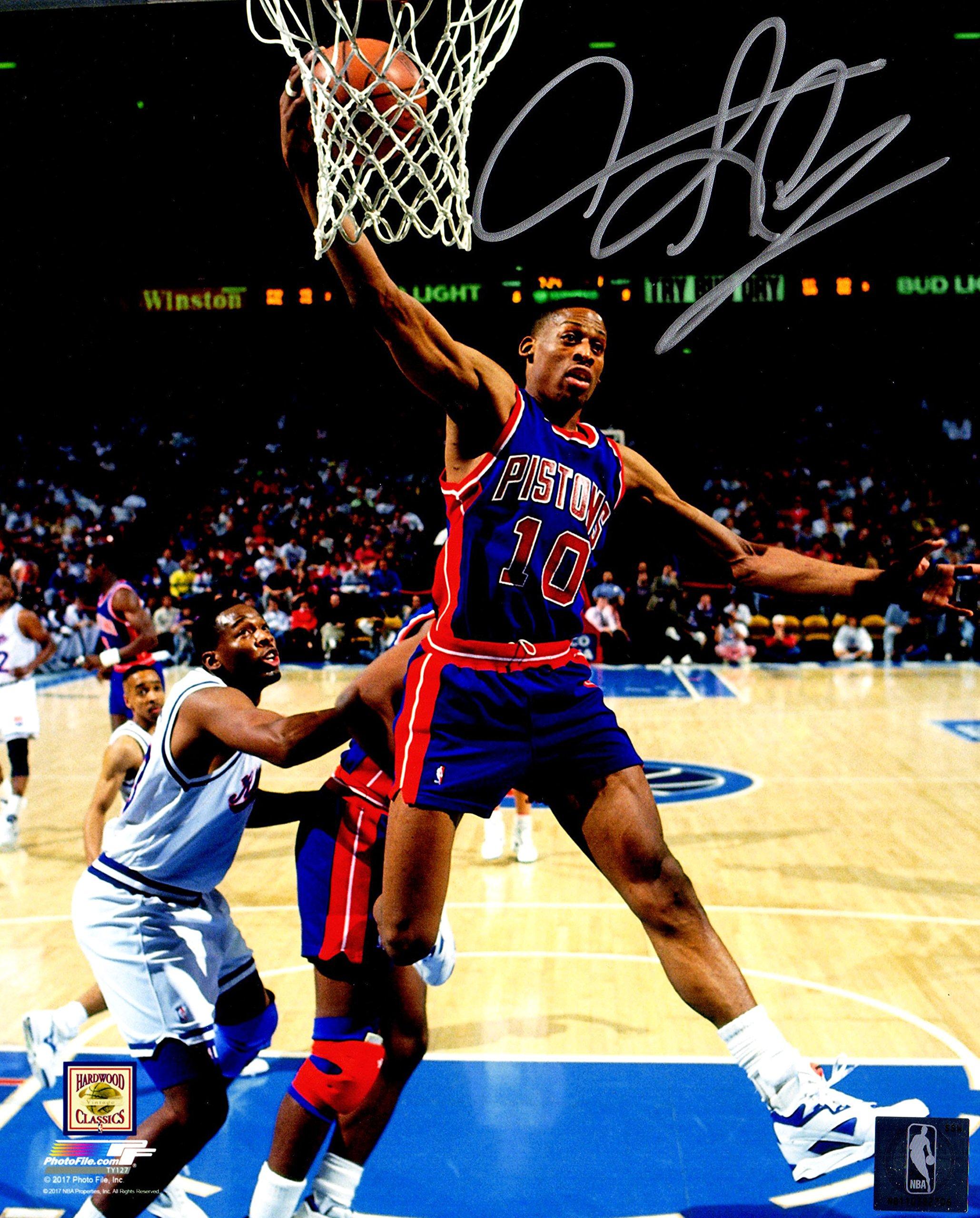Dennis Rodman Signed Detroit Pistons Rebound Action 8x10 Photo