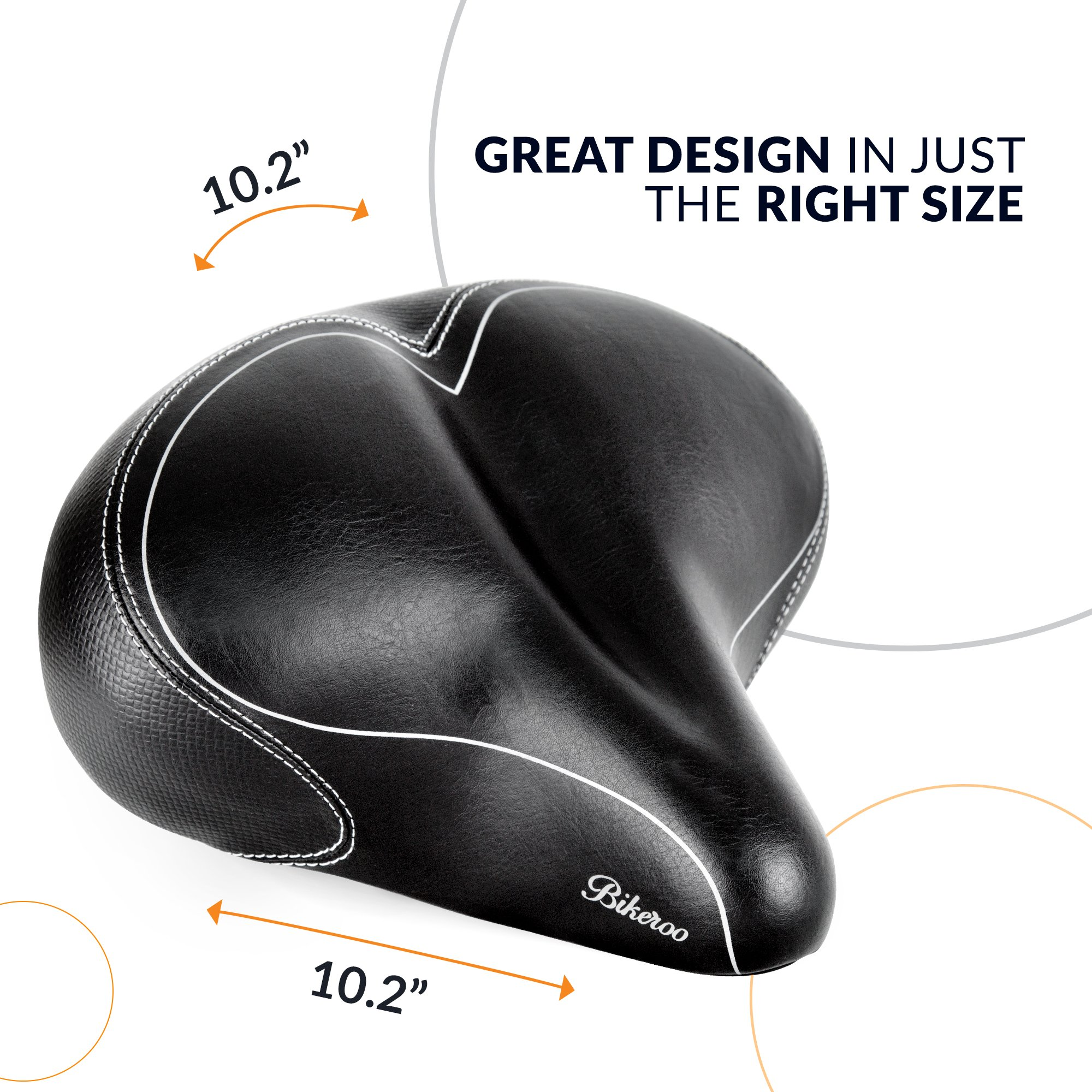Bikeroo Oversized Comfort Bike Seat Most Comfortable Replacement Bicycle Saddle - Universal Fit for Exercise Bike and Outdoor Bikes - Wide Soft Padded Bike Saddle for Women and Men by Bikeroo (Image #5)
