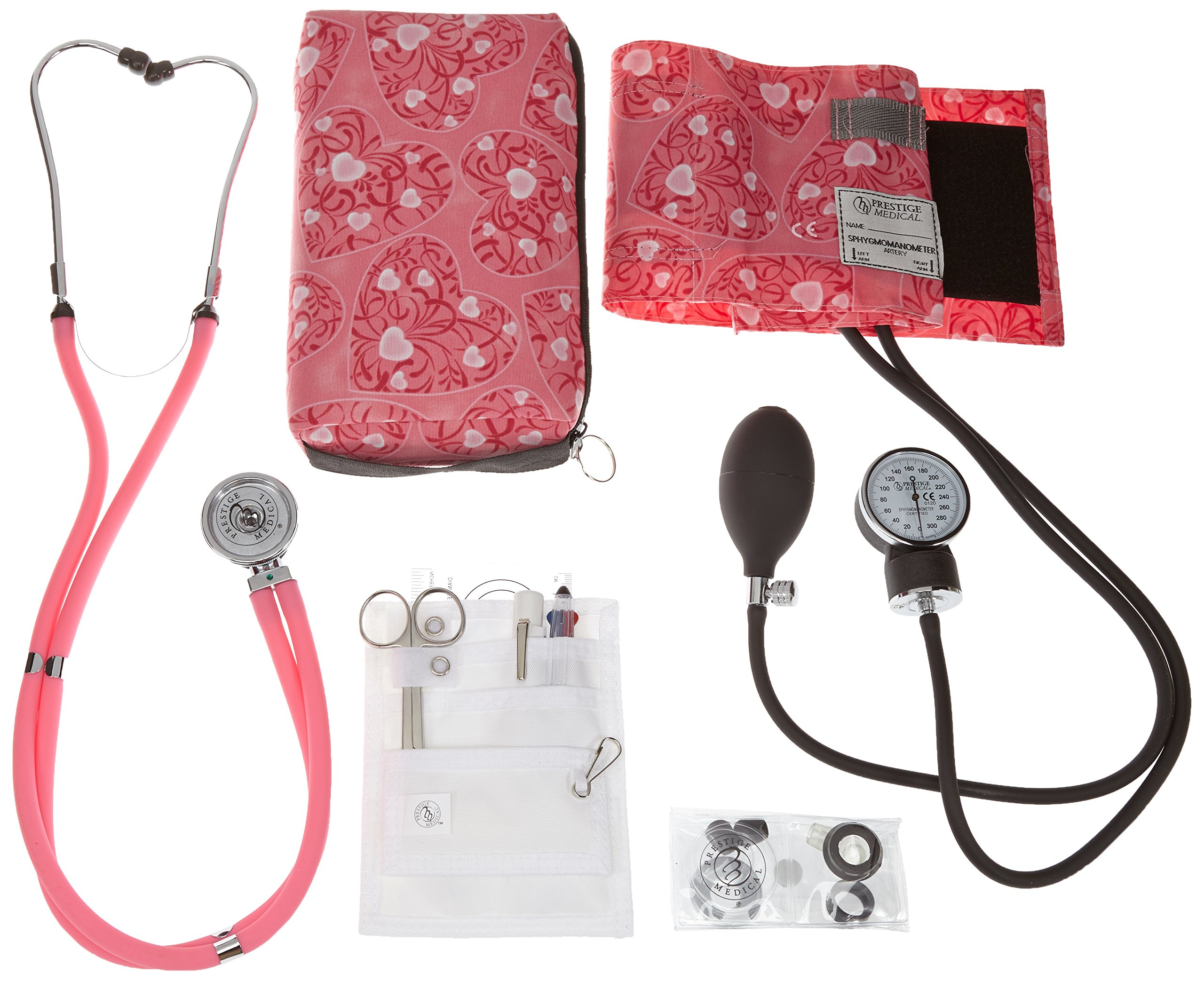 Prestige Medical Supplies 'Aneroid Sphygmomanometer / Sprague-Rappaport Nurse Kit' Hot Pink Hearts