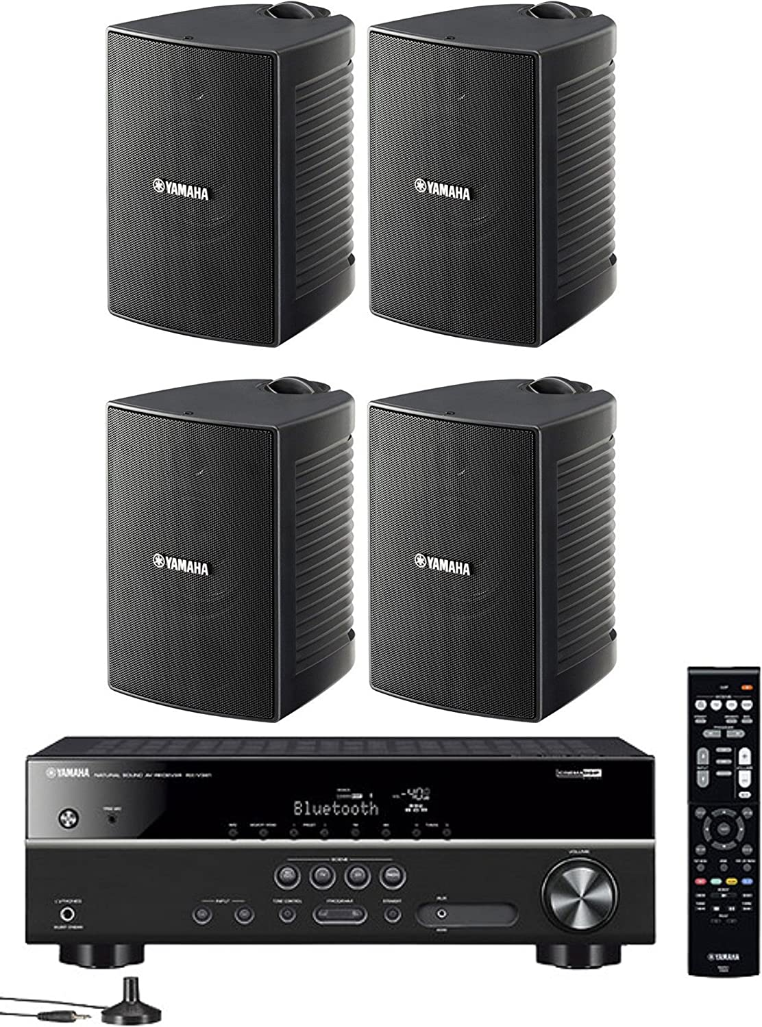 Yamaha 5.1-Channel Wireless Bluetooth 4K A/V Home Theater Receiver + Yamaha Natural Sound High Performance 2-Way Indoor/Outdoor Weatherproof Speakers (Set of 4)
