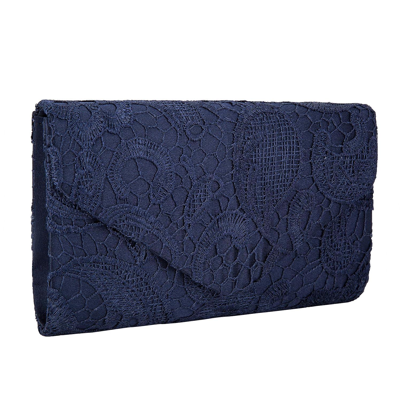 Mujer Sat/én Encaje Bolsas De Flores De Boda Bolso Nupcial De Partido Fiesta Noche Embrague Carteras,Azul Oscuro