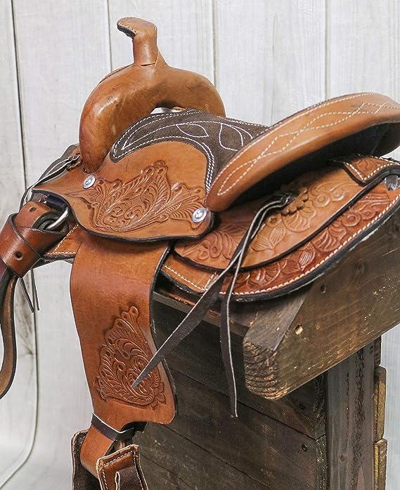 "2/"" Miniature Western Saddle Leather Round Decor Cowgirl Cowboy Toy"
