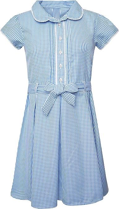 Girls Summer School Dress Gingham Check Pleated Uniform Red Blue Green Yellow