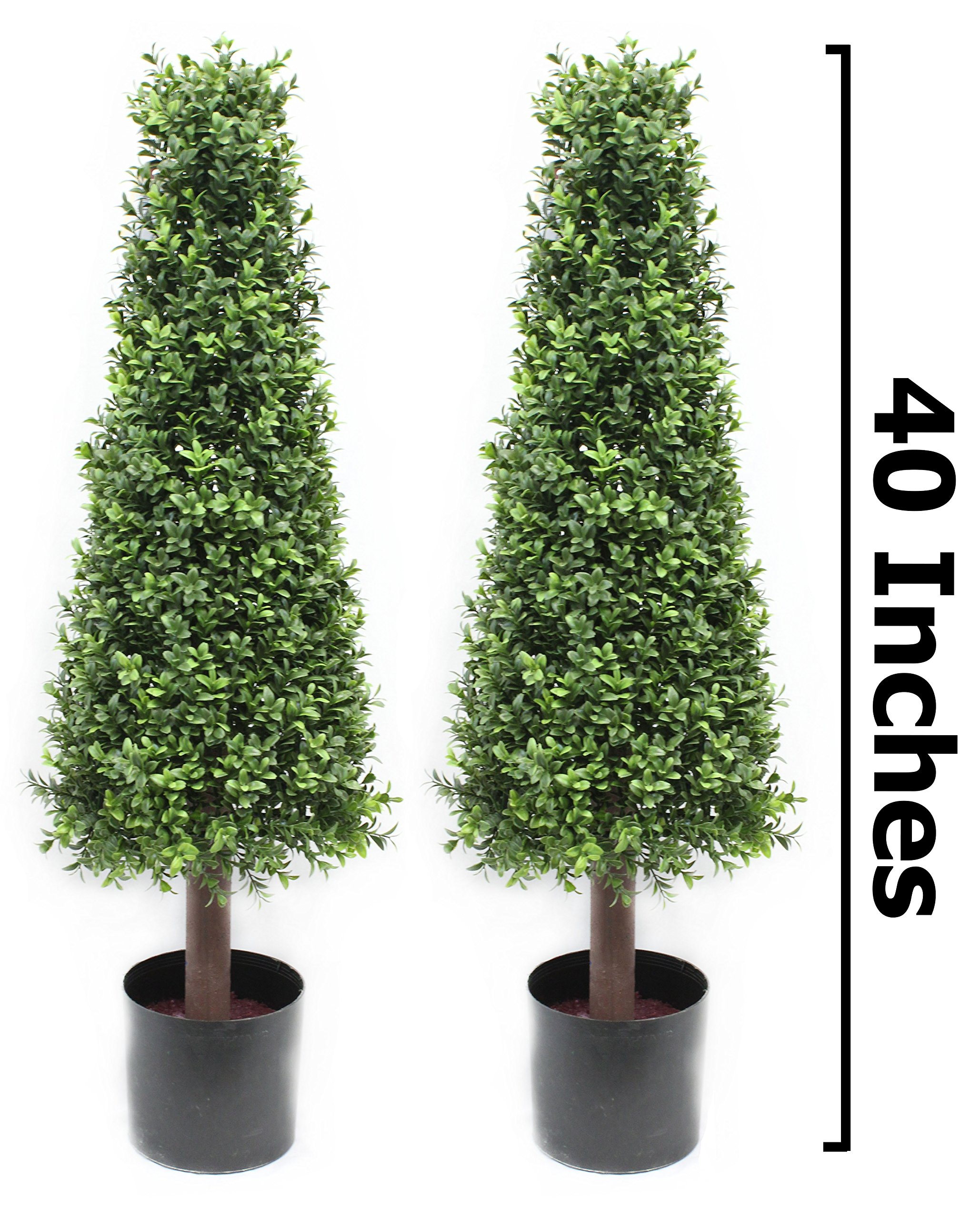 40 Inch Pond Boxwood Cone Topiary Tree Premium Realistic Faux Artificial Plant Home Decor or Office Fake Tree by Silk Road Home by Silk Road Home