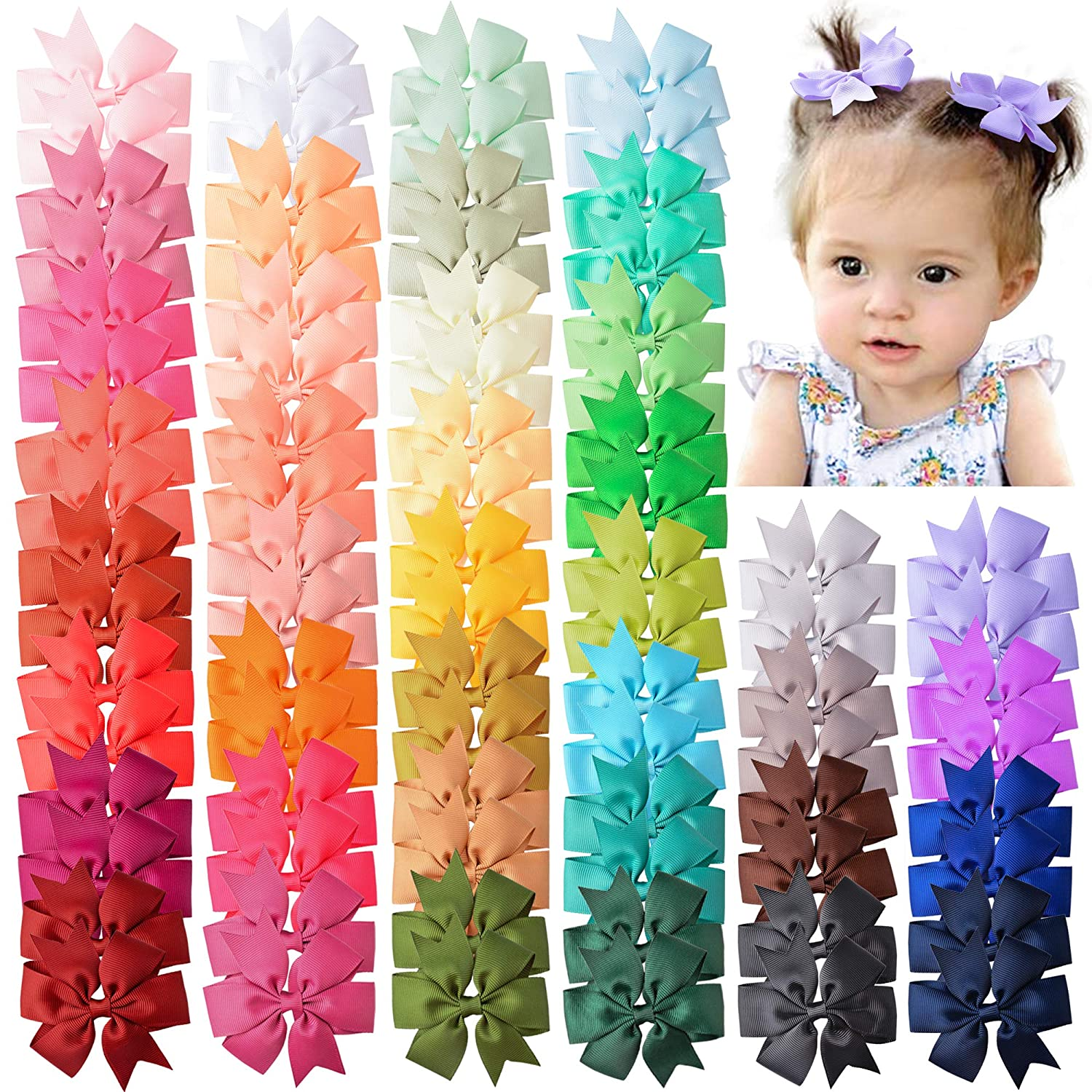 Coreeky 80 Pieces Boutique Grosgrain Ribbon Pinwheel Hair Bows Alligator Clips For Girls Babies Toddlers Teens Gifts In Pairs : Beauty
