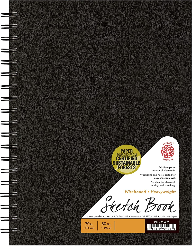 6 by 4-Inch Black Pentalic Bamboo Hardbound 110-Sheet Sketchbook
