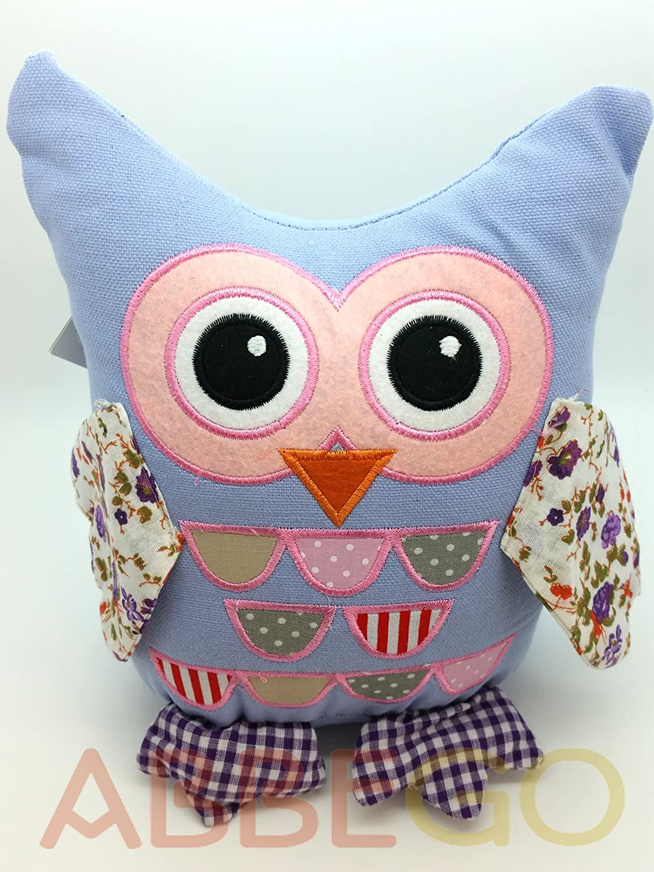 Purple Lilac Cute Shabby Chic Vintage Floral Owl Door Stop Fabric Doorstop Home Improvement