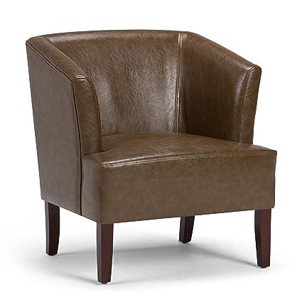 Amazon.com: Simpli Home Longford Tub Chair, Saddle Brown: Kitchen ...