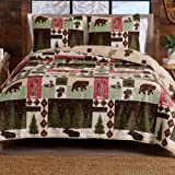 3-Piece Reversible Rustic Lodge Bedspread King Size Quilt with 2 Shams. All-Season Quilt Set. Wilder Collection (King)