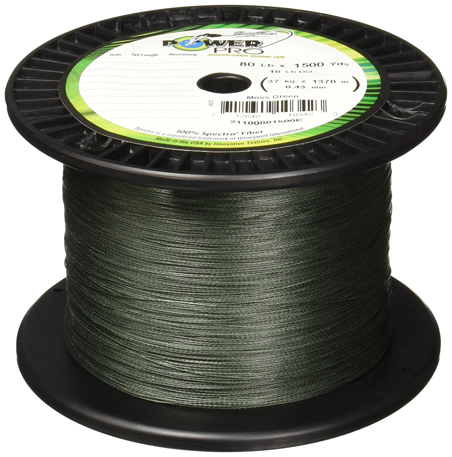 Power Pro Spectra Fiber Braided Fishing Line, Moss Green, 300YD/50LB