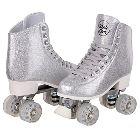 Cal 7 Sparkly Roller Skates for Indoor Outdoor Skating, Faux Leather Quad Skate with Ankle Support 83A PU Wheels for Kids Adults