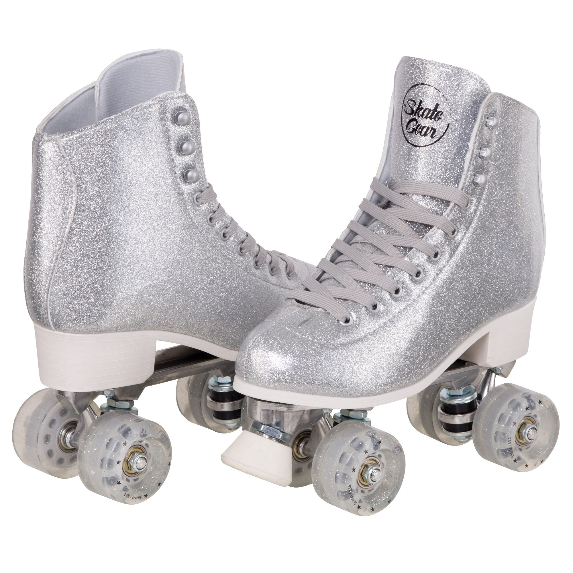 Cal 7 Sparkly Roller Skates for Indoor & Outdoor Skating, Faux Leather Quad Skate with Ankle Support & 83A PU Wheels for Kids & Adults (Silver, Men's 9/ Women's 10)