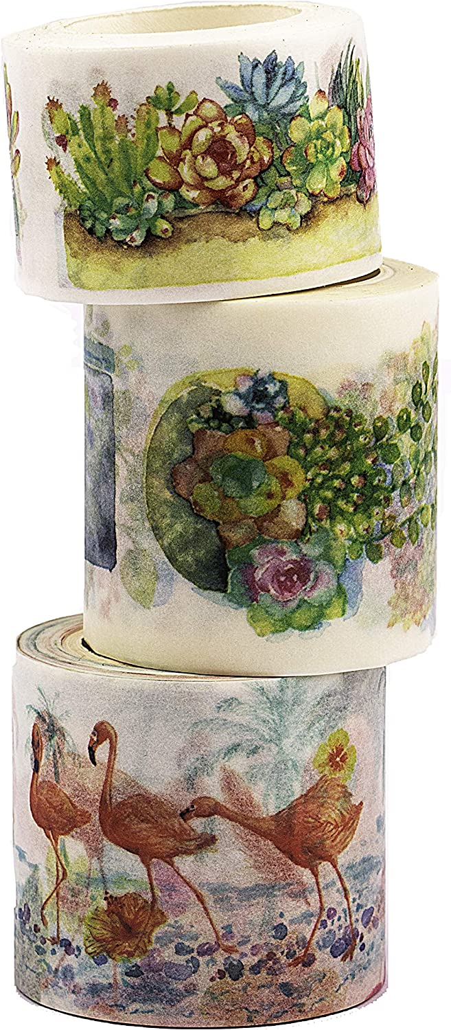 Navy Peony Watercolor Flamingo and Plant Washi Tape Set | Cute Nature Themed Japanese Decorative Tapes | Floral Art Scrapbook Sticker Tape for Crafts and Planners | Wide Washi Tape Rolls for Kids