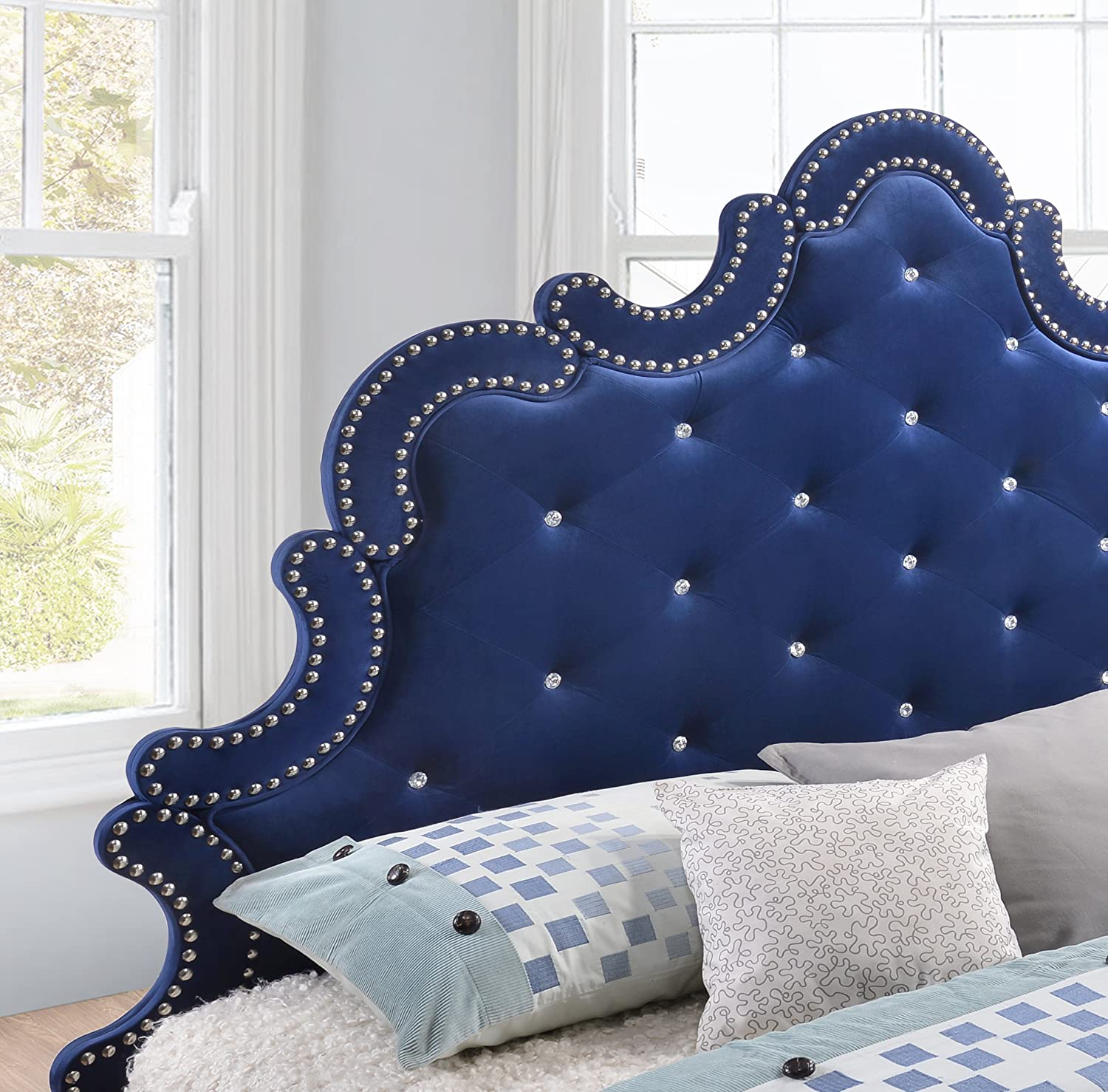 Meridian Furniture Caroline Velvet Bed - King - Navy