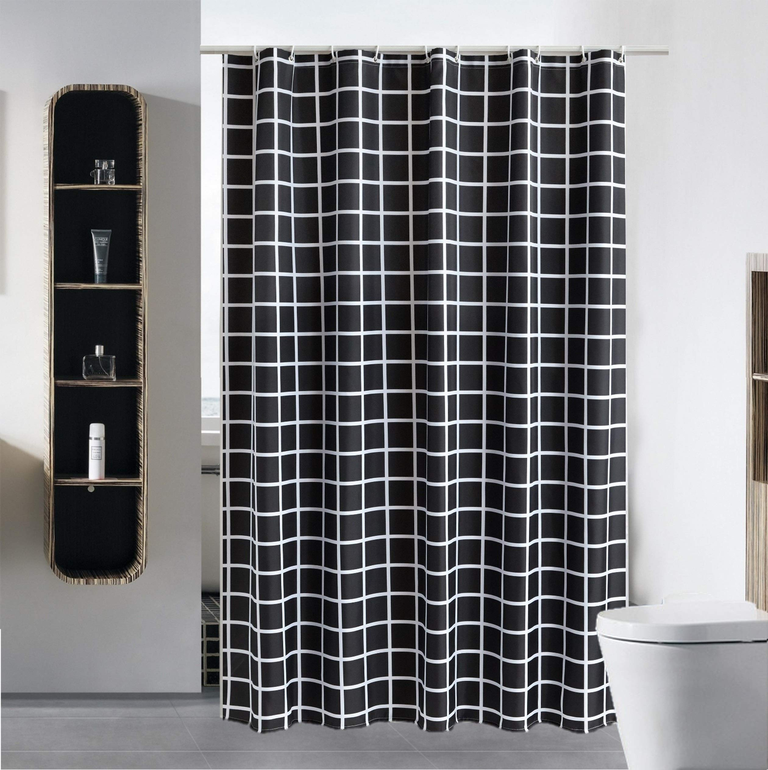 Luxury Fabric Shower Curtain Liner Water Repellent Fabric Mildew Resistant Washable Cloth (Hotel Quality, Eco Friendly, Heavy Weight Hem) with White Plastic Hooks - 72'' x 84'', Extra Long, Black Grid