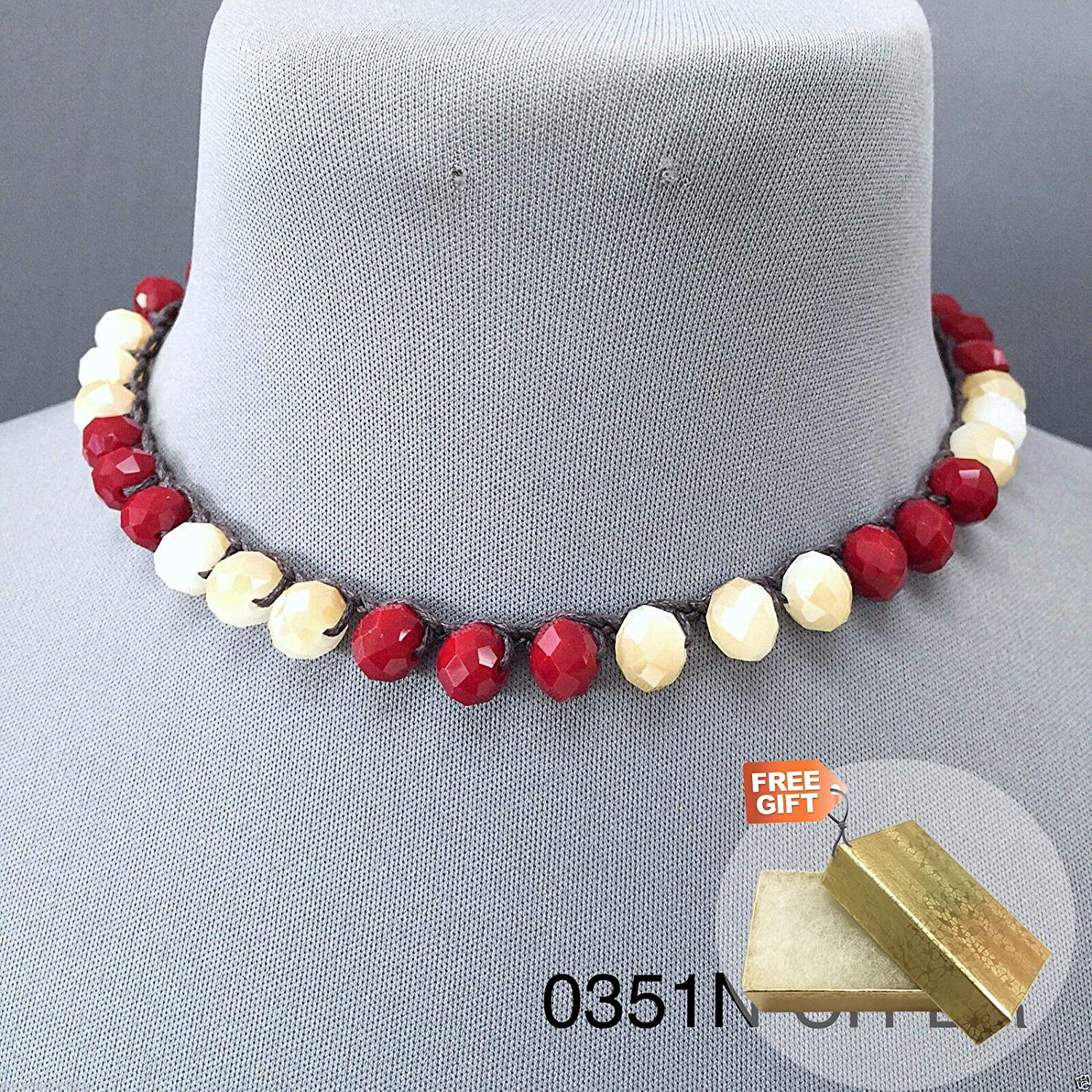Gold Cotton Filled Gift Box for Free Real Leather String Faceted Natural Cherry Brown Stone Beaded Toggle Necklace